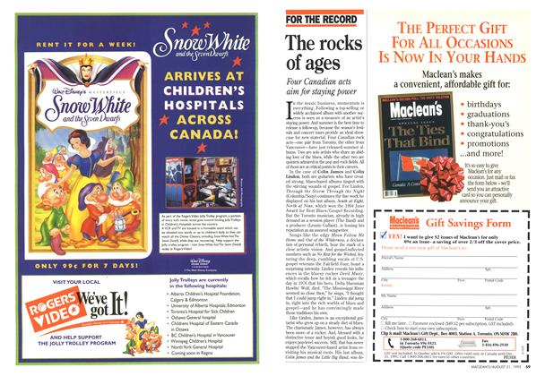 Article Preview: The rocks of ages, August 1995 | Maclean's