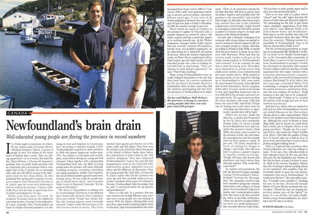 Article Preview: Newfoundland's brain drain, August 1995 | Maclean's