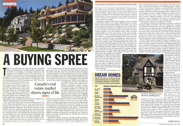 Article Preview: A BUYING SPREE, August 1995 | Maclean's
