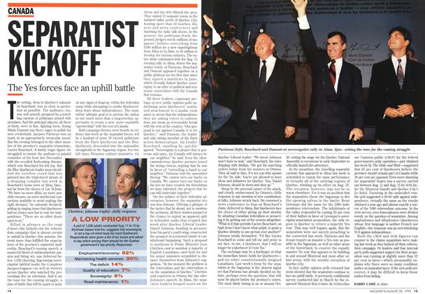 Article Preview: SEPARATIST KICKOFF, August 1995 | Maclean's