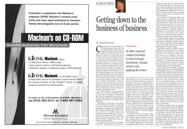 Article Preview: Getting down to the business of business, September 1995 | Maclean's