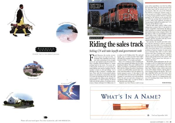 Article Preview: Riding the sales track, September 1995 | Maclean's