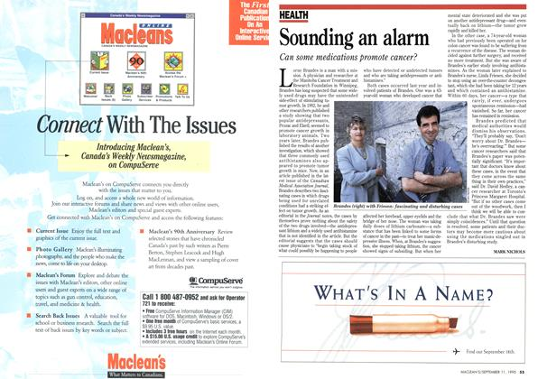 Article Preview: Sounding an alarm, September 1995 | Maclean's