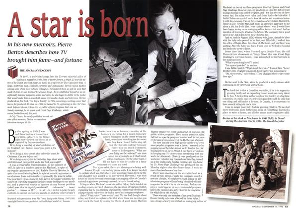 Article Preview: A star is born, September 1995 | Maclean's