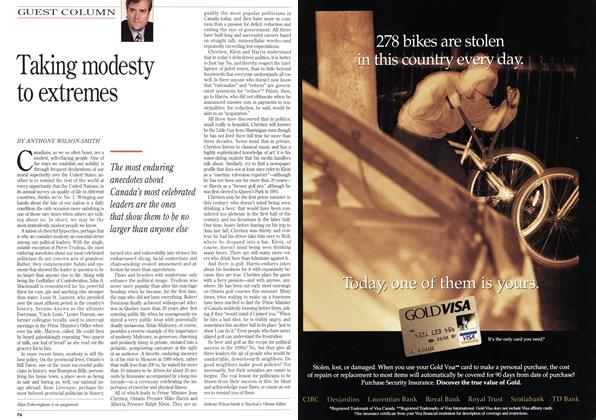 Article Preview: Taking modesty to extremes, September 1995   Maclean's