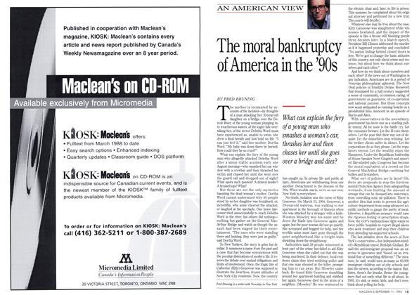 Article Preview: The moral bankruptcy of America in the '90s, September 1995 | Maclean's