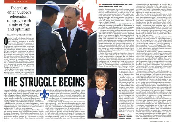 Article Preview: THE STRUGGLE BEGINS, September 1995 | Maclean's