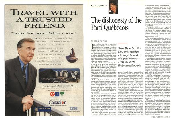 Article Preview: The dishonesty of the Parti Québécois, October 1995 | Maclean's