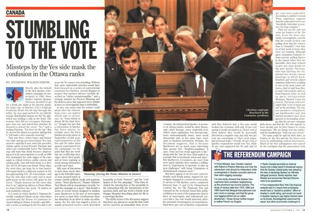 Article Preview: STUMBLING TO THE VOTE, October 1995 | Maclean's