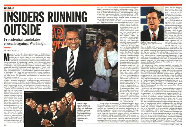 Article Preview: INSIDERS RUNNING OUTSIDE, October 1995 | Maclean's