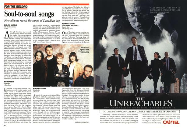 Article Preview: Soul-to-soul songs, October 1995 | Maclean's