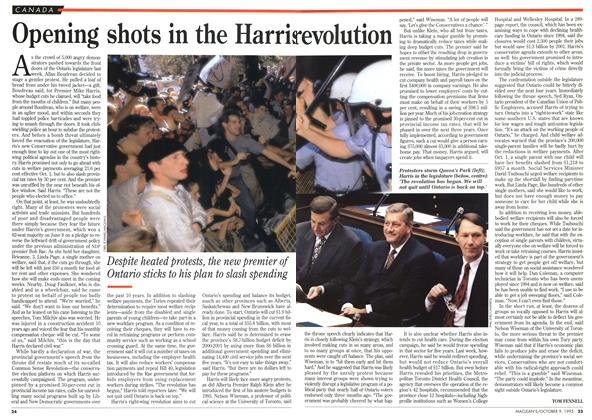 Article Preview: Opening shots in the Harris revolution, October 1995 | Maclean's