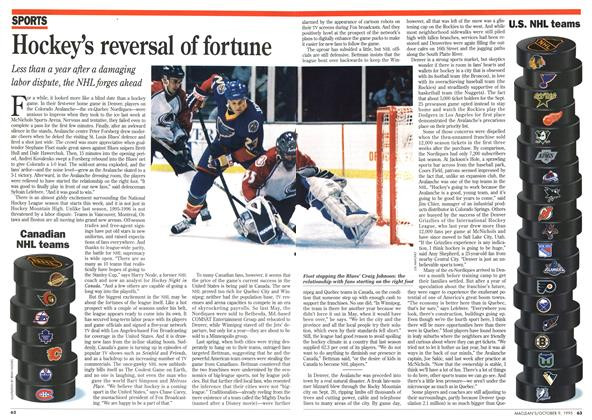 Article Preview: Hockey's reversal of fortune, October 1995 | Maclean's