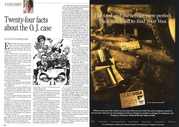 Article Preview: Twenty-four facts about the O. J. case, October 1995 | Maclean's