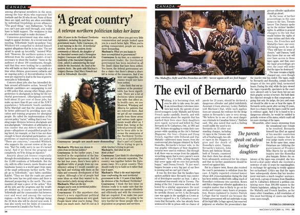 Article Preview: The evil of Bernardo, October 1995 | Maclean's