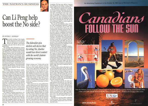 Article Preview: Can Li Peng help boost the No side?, October 1995 | Maclean's