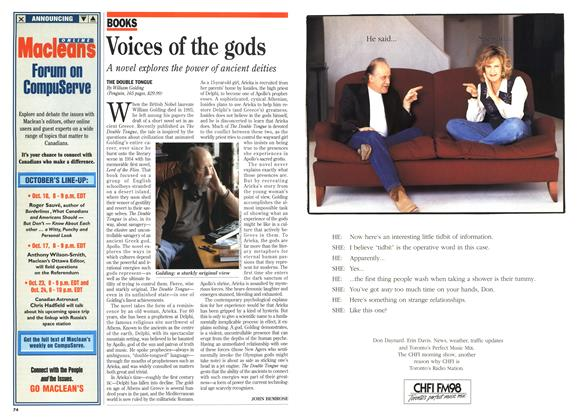 Article Preview: Voices of the gods, October 1995 | Maclean's