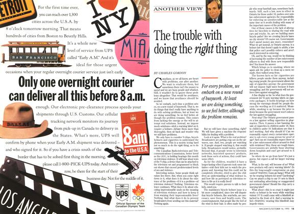 Article Preview: The trouble with doing the right thing, October 1995 | Maclean's