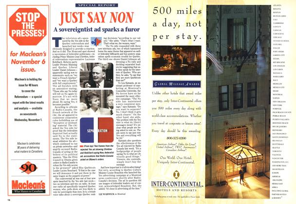 Article Preview: JUST SAY NON, October 1995 | Maclean's