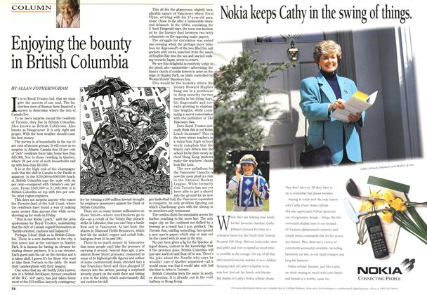 Article Preview: Enjoying the bounty in British Columbia, October 1995 | Maclean's