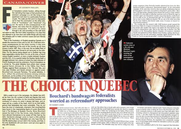 Article Preview: THE CHOICE IN QUEBEC, October 1995 | Maclean's
