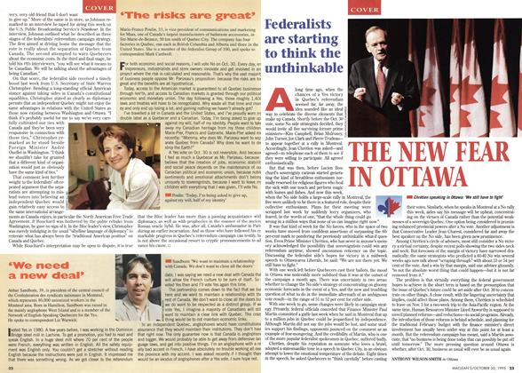 Article Preview: THE NEW FEAR IN OTTAWA, October 1995 | Maclean's