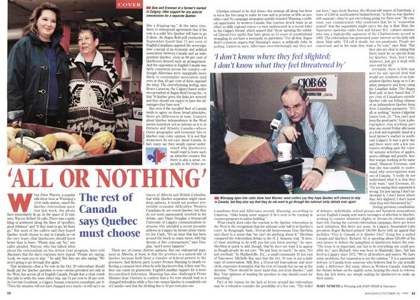 Article Preview: ALL OR NOTHING', October 1995 | Maclean's