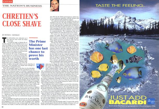 Article Preview: CHRETIEN'S CLOSE SHAVE, November 1995 | Maclean's