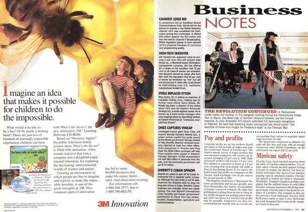 Article Preview: Business NOTES, November 1995 | Maclean's