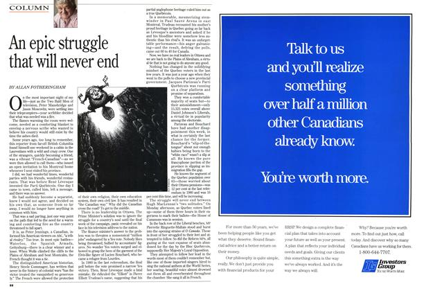 Article Preview: An epic struggle that will never end, November 1995 | Maclean's