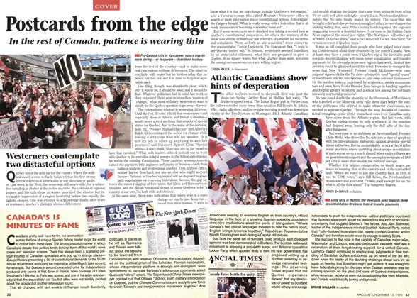 Article Preview: Westerners contemplate two distasteful options, November 1995 | Maclean's