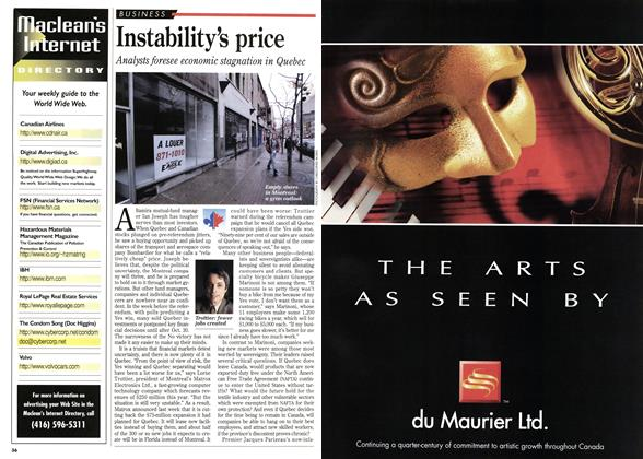 Article Preview: Instability's price, November 1995 | Maclean's