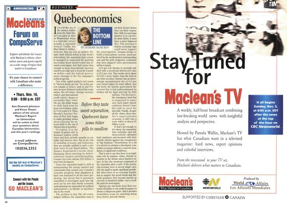 Article Preview: Quebeconomics, November 1995 | Maclean's