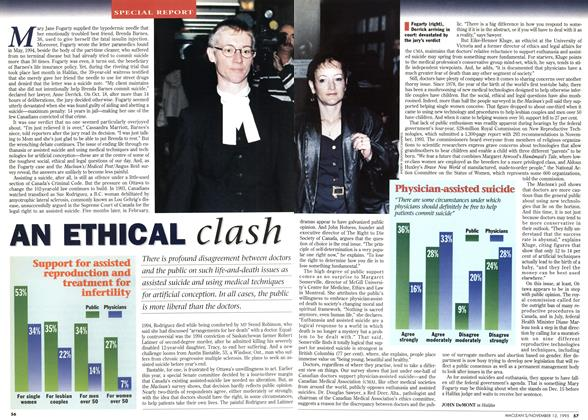 Article Preview: AN ETHICAL clash, November 1995 | Maclean's