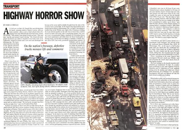 Article Preview: HIGHWAY HORROR SHOW, November 1995 | Maclean's