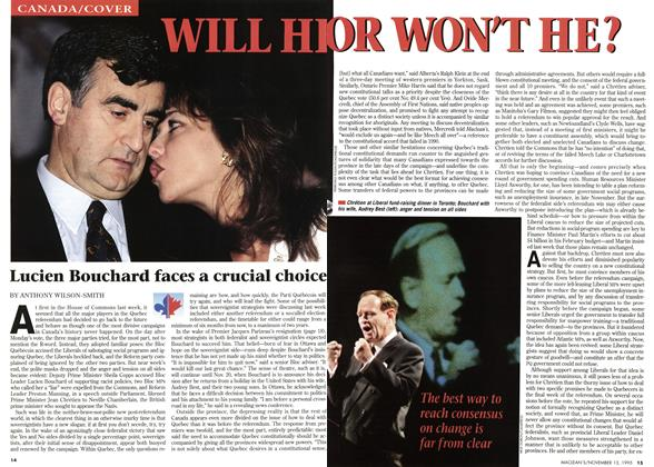 Article Preview: WILL HE OR WON'T HE?, November 1995 | Maclean's