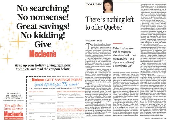 Article Preview: There is nothing left to offer Quebec, November 1995 | Maclean's