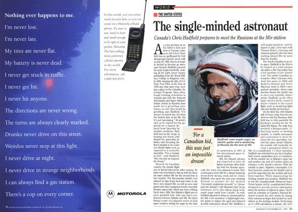 Article Preview: The single-minded astronaut, November 1995 | Maclean's