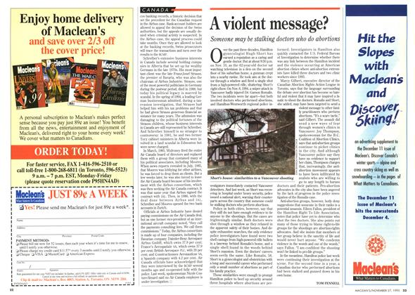 Article Preview: A violent message?, November 1995 | Maclean's