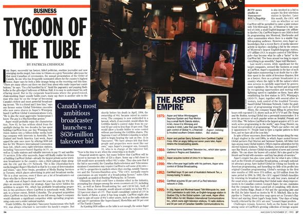 Article Preview: TYCOON OF THE TUBE, November 1995 | Maclean's