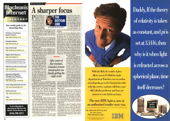 Article Preview: A sharper focus, November 1995 | Maclean's