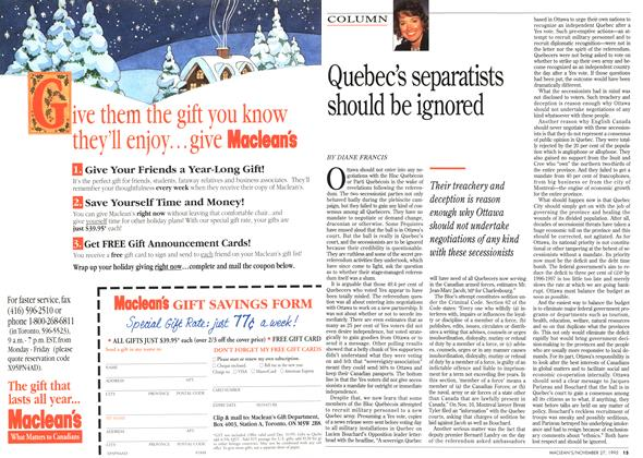 Article Preview: Quebec's separatists should be ignored, November 1995 | Maclean's