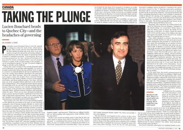 Article Preview: TAKING THE PLUNGE, December 1995 | Maclean's