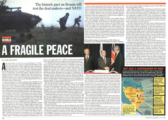 Article Preview: A FRAGILE PEACE, December 1995 | Maclean's