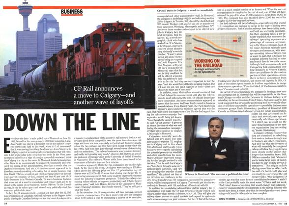 Article Preview: DOWN THE LINE, December 1995 | Maclean's