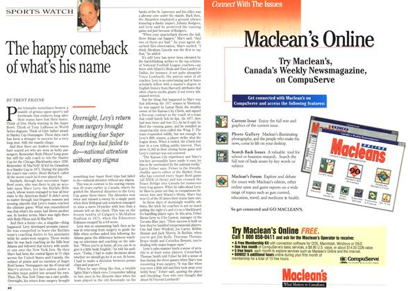 Article Preview: The happy comeback of what's his name, December 1995 | Maclean's