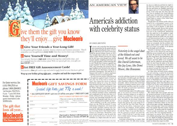 Article Preview: America's addiction with celebrity status, December 1995 | Maclean's