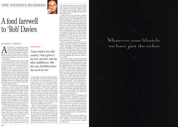 Article Preview: A fond farewell to 'Rob' Davies, December 1995 | Maclean's