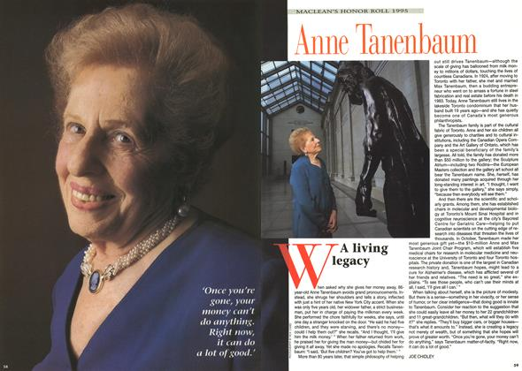 Article Preview: A living legacy, December 1995 | Maclean's