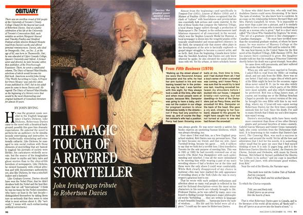 Article Preview: THE MAGIC TOUCH A REVERED STORYTELLER, December 1995 | Maclean's
